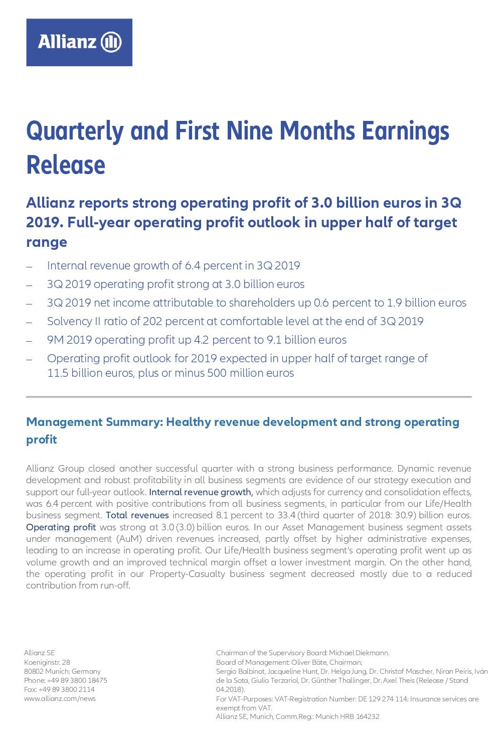 Allianz 3Q2019 earnings release EN 1